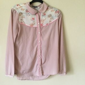 American Eagle Outfitters Semi Sheer Floral Blouse